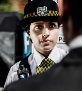 policewoman wearing a body camera