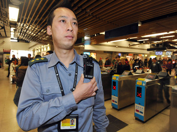 Hong Kong underground police using body cameras